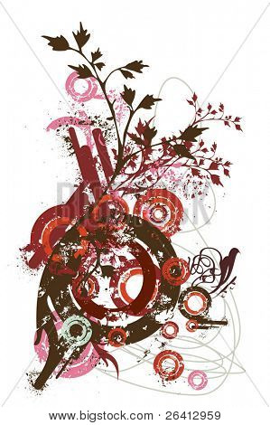 abstract  vector design elements, eroded grunge circles,ink blots ,floral decoration