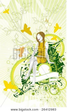 beauty girl in fresh background,abstract floral elements & blank medallion,ribbon