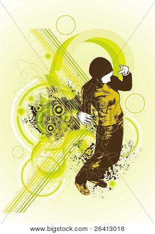 neue Perspektive, Frau tanzen auf abstrakt, design-Elemente, vector Illustration