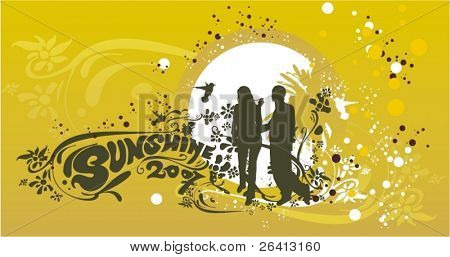 two lovers silhouete on abstract floral background