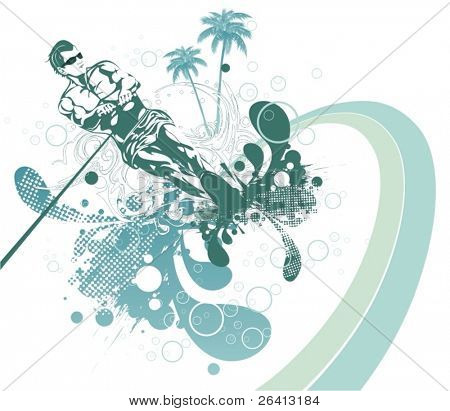 abstract waterski in the summer,vector illustration,floral & grunge elements