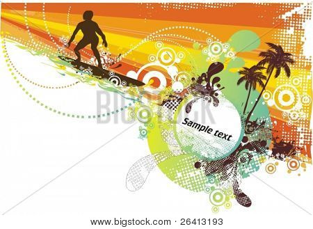 surfer on abstract waves in the summer,floral & grunge elements,vector illustration