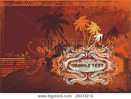 summer background,vintage grunge medallion for text,palm trees,ocean.vector illustration