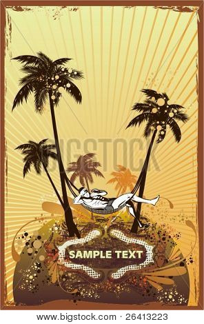 relajarse en la playa, palmeras, retro look grunge & adornos florales, vector illustration