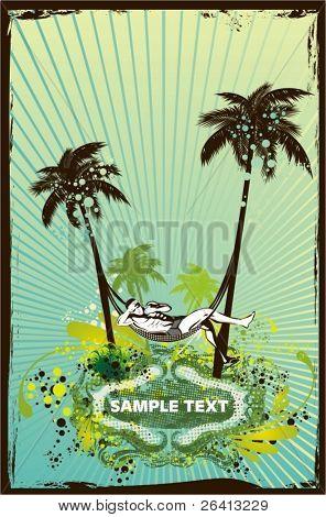 enjoy the sun,palm trees ,retro look grunge & floral ornaments,vector illustration