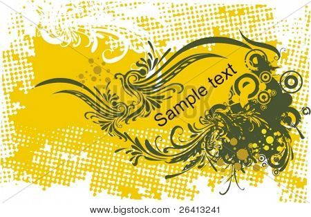 floral ornaments on eroded halftone pattern background,vector
