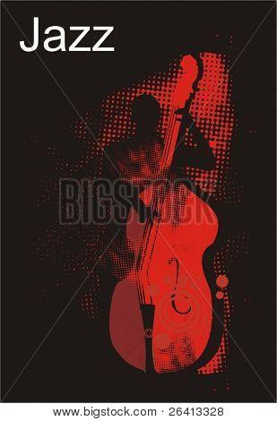 jazz bass player performance,halftone pattern texture,vector illustration