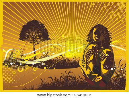 girl silhouette & tree with abstract floral & grunge ornaments,vector