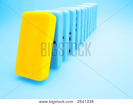 Yellow Domino, Dominos Concept On Light Background, Team