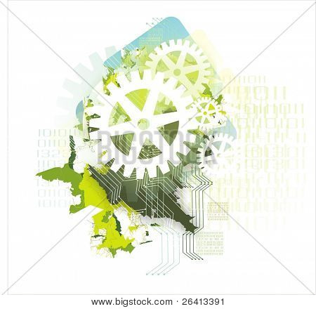 background with gears & binary data codes