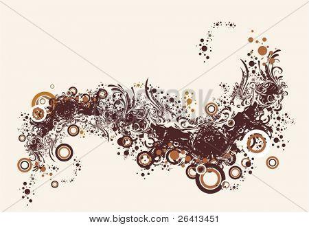 fondo floral & círculos abstractos, vector