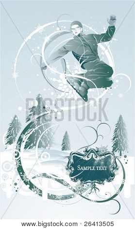 grunge winter background with snowboarder jumping,vector illustration