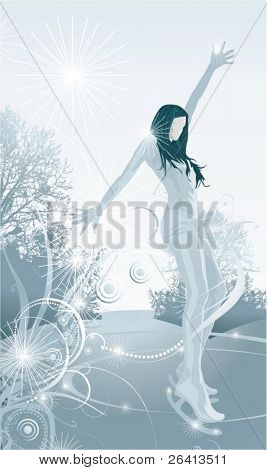 female figure skater performance on the ice ,floral ornaments,vector illustration