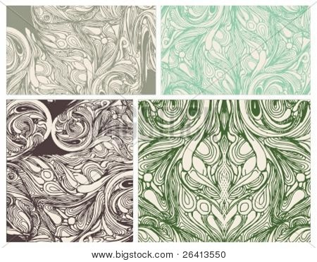 4 different retro floral backgrounds,vector
