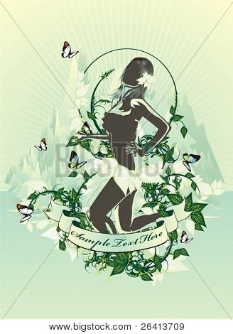 beauty female silhouette on tropical floral background