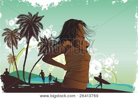 girl,tropical island, palm trees on a beach