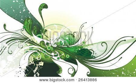 flujo refrescante, floral ilustración