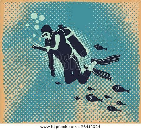 Scuba diver underwater,vector illustration