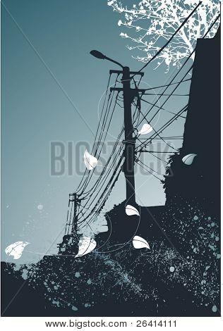 otoño en la ciudad, la línea de la energía, deja de caer, vector illustration