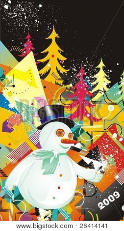 snowman & christmas trees,illustration