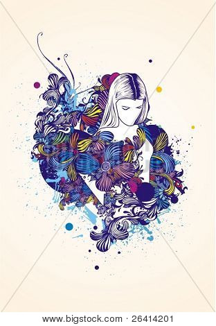 woman silhouette on  abstract floral background & ink blots