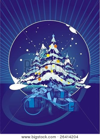 snowfall & pine trees ,christmas illustration