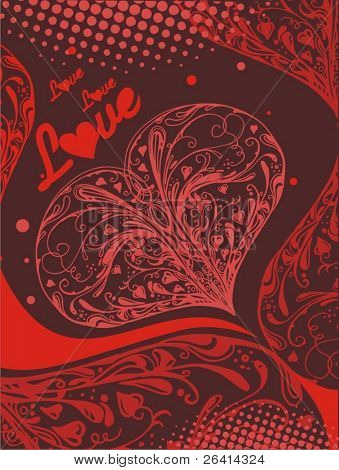 floral heart shape illustration