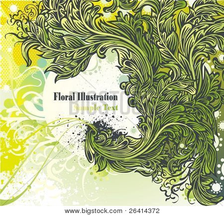 illustration of highly detailed floral background with place for your text