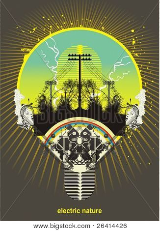 light bulb with power lines and trees inside, vector illustration