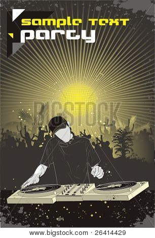 dj mixing and dancing crowd -vector poster design