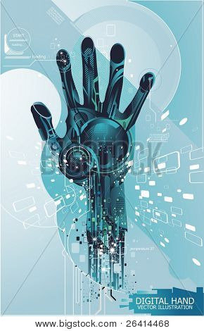 security concept with cybernetic hand, vector illustration