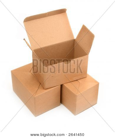 Three Cardboard Boxes On White