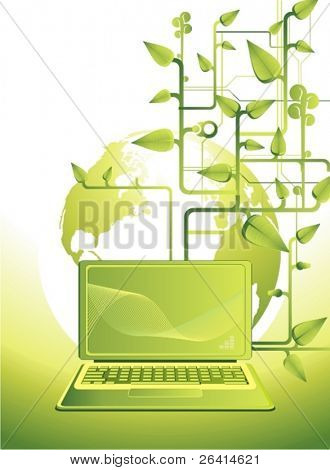 green laptop and spring leaves,vector illustration