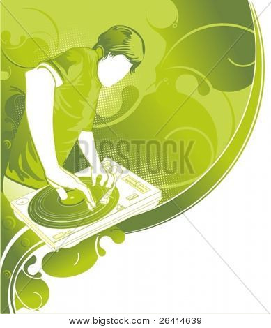party poster template with place for text dj mixing on turntable & organic floral background