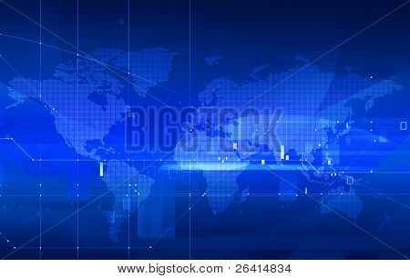 dotted digital world map on tech background