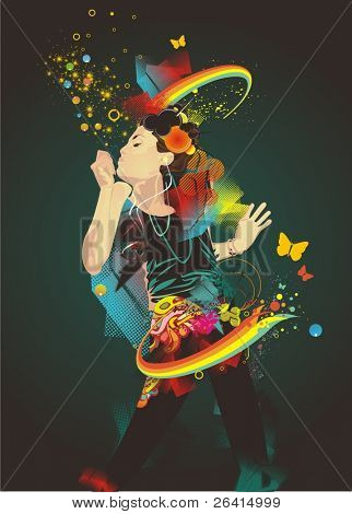girl making soap bubbles,rainbow and abstract background