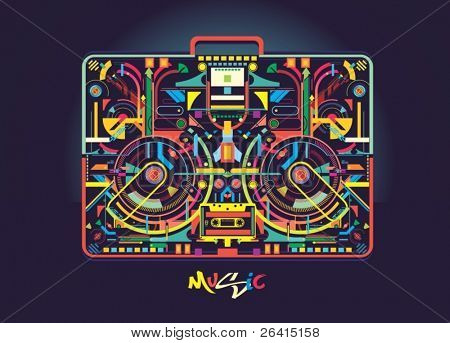 Boombox illustration created from colorful abstract shapes,vector