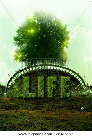 Life concept. Photo manipulation, representing a  tree and the word LIFE created from grass