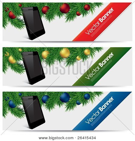 vector website headers, Christmas smart phone promotion banners