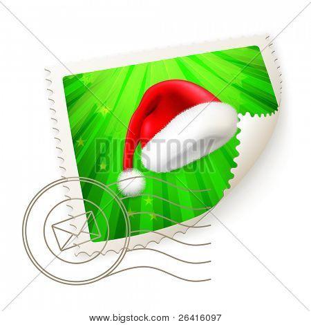 Christmas Postage Stamp, vector