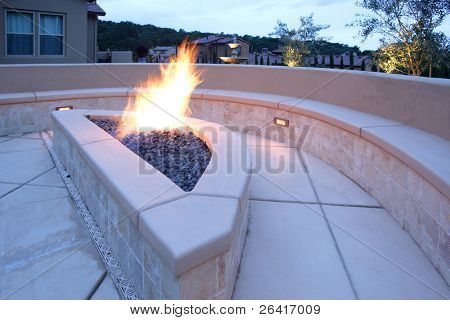 A lounge area in a new luxury backyard