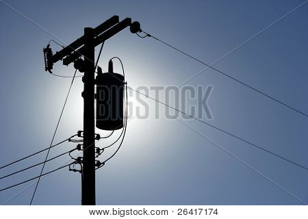 Silhouette Power lines back lit by the afternoon sun