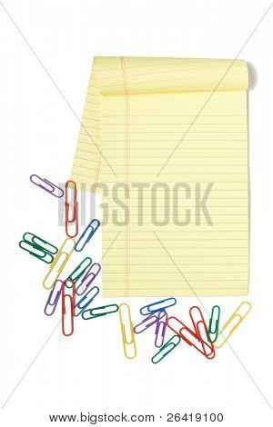 A Legal Pad Isolated on white with paper clips