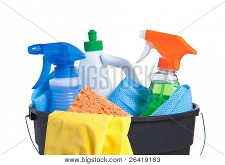 A Bucket with Cleaning Supplies isolated on White