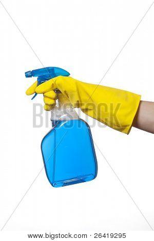 A person spraying Window Washing Liquid