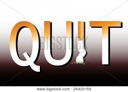 New Year's resolution Quit Smoking concept with the i in quit being replaced by a stubbed out cigarette. Also available in vector format.
