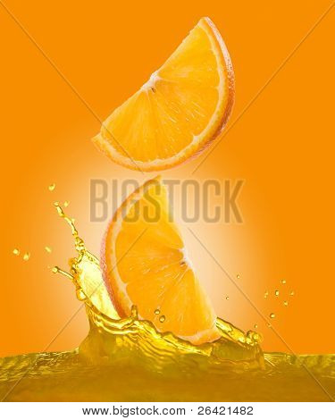 fall oranges in juice