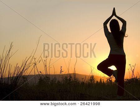 yoga during sunset