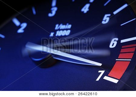 tachometer on maximum level