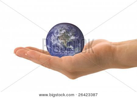 globe on woman hand Blue Marble picture courtesy of NASA, see http://visibleearth.nasa.gov/useterms.php for terms of use